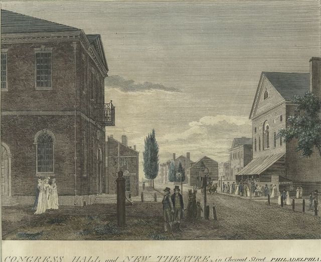 Congress Hall and New Theatre, in Chesnut Street, Philadelphia