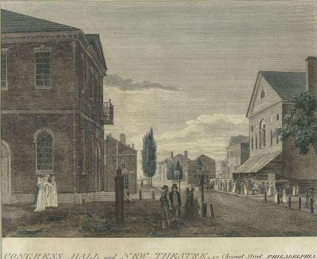 Congress Hall and New Theatre, in Chesnut Street, Philadelphia