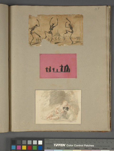 "Dancing skeletons, signed ""Turner f. 1799""; women and children in silhouette, on pink paper; baby with dog, by Conyers"