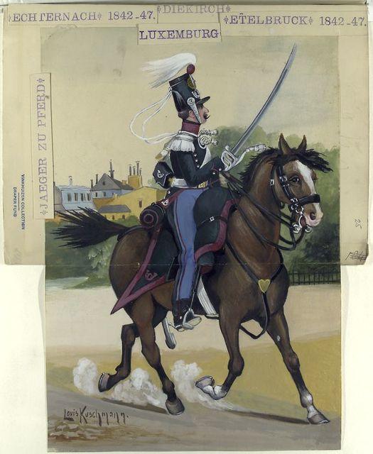 Diekirch, Echternach 1842-47, Etelbruck 1842-47, Luxemburg : Jager zu Pferd