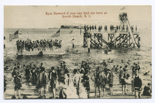 $500 Reward if you can find me here at South Beach, Staten Island [people on beach, float, and what appears to be Harris Bathing Slide.]