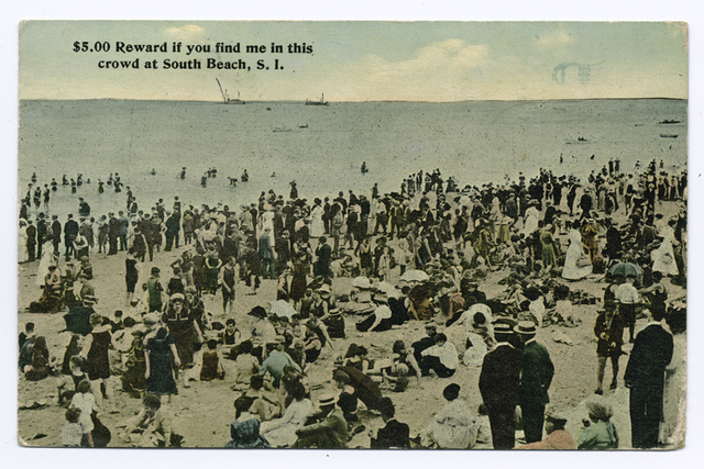 $5.00 Reward if you find me in this crowd at South Beach, Staten Island [people on crowded beach.]
