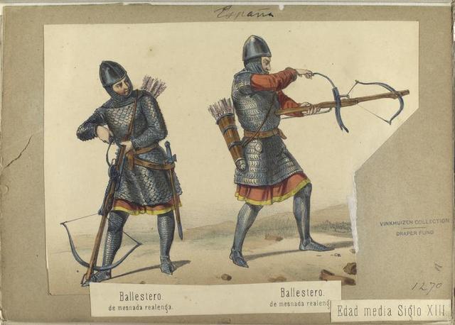 Edad media Siglo XIII. Ballestero, de mesnada realenga; Balllestero de mesnada realenga. 1270