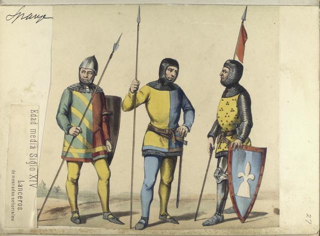 Edad media Siglo XIV. Lanceros, de mesnadas señoriales.