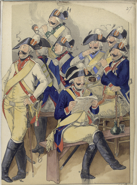 [Eight officiers around a table, socializing, reading, smoking a pipe. They are numbered from 1 to 6 as they wear six different uniforms.]