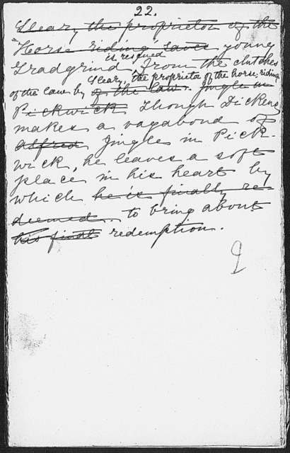 Field, Kate [Lecture on Charles Dickens]. Holograph draft, incomplete. n.d.