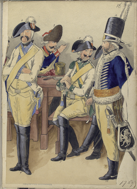 [Four officiers in uniforms around a table,socializing, smoking pipes and eating.]