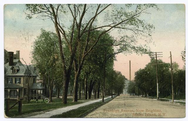 Franklyn Avenue, New Brighton, Staten Island, N.Y.  [wide street with old home, trees and smoke stack in distance]