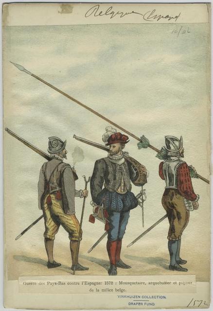 Guerre des Pays- Bas contre l'Espagne: 1572: Mousquetaire, arquebusier et piquier de la milice belge.
