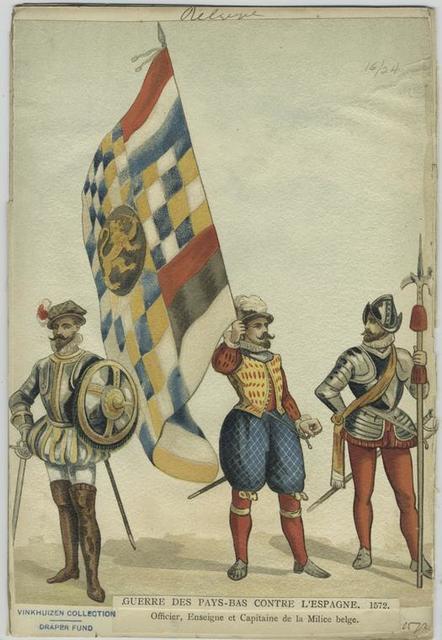 Guerre des Pays-Bas contre l'Espagne, 1572. Officier, ensiegne et capitaine de la milice Belge