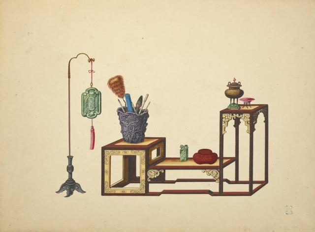 Hanging decoration, multi-level table with various objects.