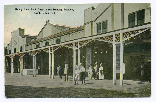 Happy Land Park, Theatre and Dancing Pavilion, South Beach, Staten Island [people in old garb in front of building entrances]
