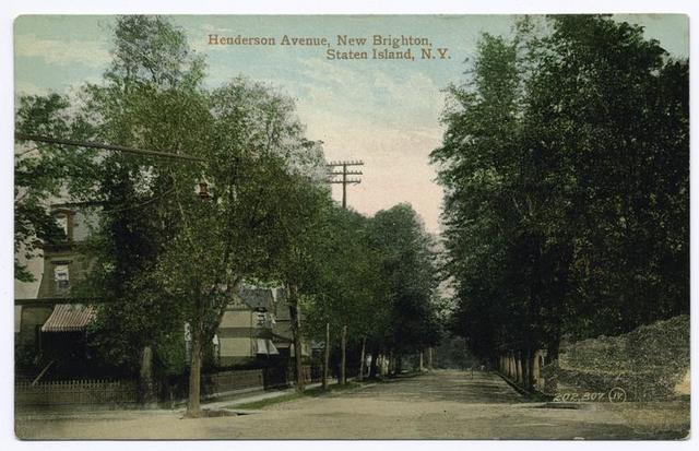 Henderson Avenue, New Brighton, Staten Island, N.Y.  [tree-lined street, houses with awnings, old wrought iron fence around corner home]