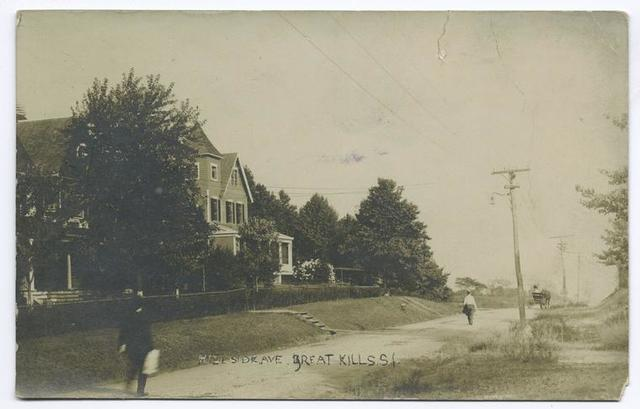 Hillside Ave., Great Kills, Staten Island [large house, people walking in street, old street lamp, horse and carriage]