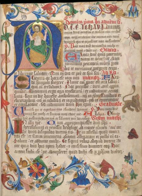 Historiated initial of Christ in Majesty; border includes a cat licking its bottom, a beetle, a moth, a stork and a rabbit, as well as a lion whose design originates in engraved playing cards.