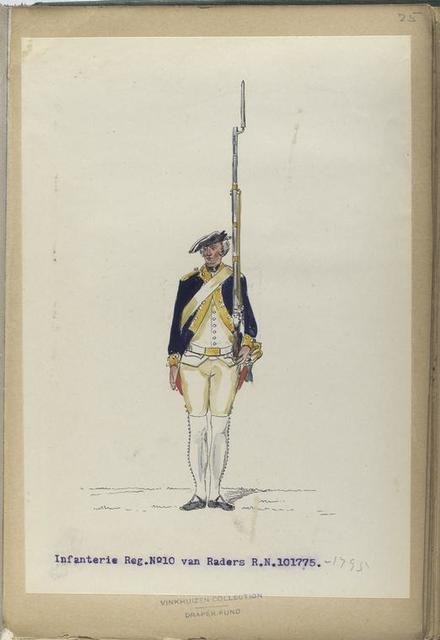 Infanterie Reg. No. 10  van Raders  R. N. 10. 1775-1795