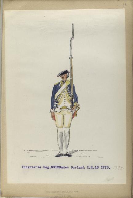 Infanterie Reg. No. 13  Baden Durlach. R. N. 13. 1773-1795
