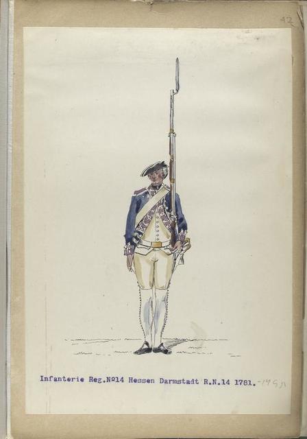 Infanterie Reg.  No. 14  Hessen Darmstadt   R. N. 14.  1781-1795