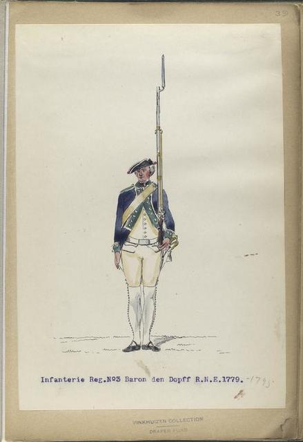 Infanterie Reg.  No. 3  Baron den Dopff  R. N. 3.  1779-1795