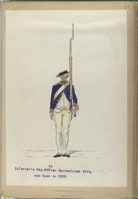 Infanterie Reg. No. 7 van Hardenbroek (van Oyen in 1769).  R. N. 18. 1775-1795
