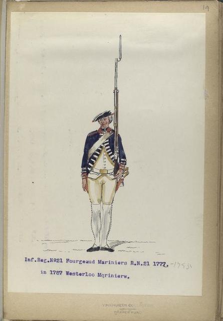 Infanterie Reg. No.21  Fourgeaud Mariniers  R. N. 21 (in 1787 Westerloo Mariniers).  1772-1795
