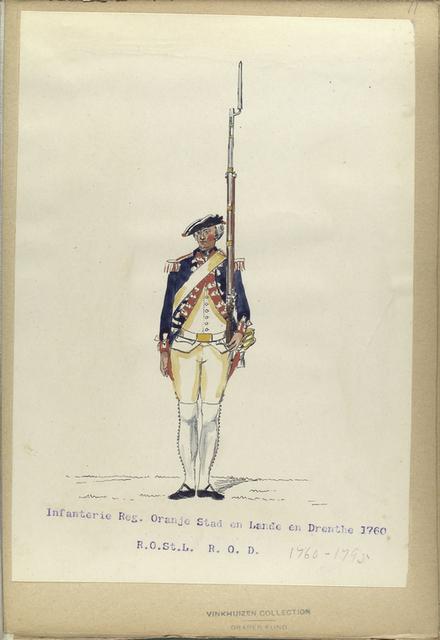 Infanterie Reg. Oranje Stad en Lande en Drenthe  R.O.St.L.  R. O.D.  1760- 1795