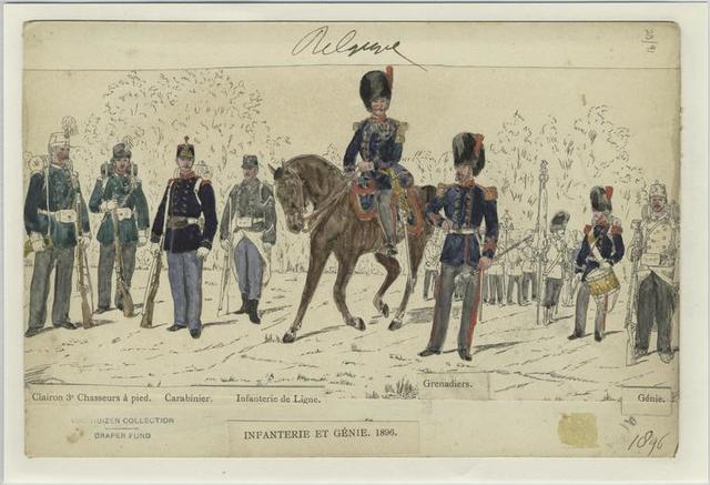 Infantry et génie, 1896. Clairon 3e chasseurs à pied, carabinier, infanterie de ligne, grenadiers, génie