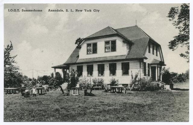 I.O.G.T. Summerhome, Annadale, Staten Island, New York City  [view of large home and lawn with picnic tables.  ... A vacation and weekend resort for Scandinavians in N.Y.]