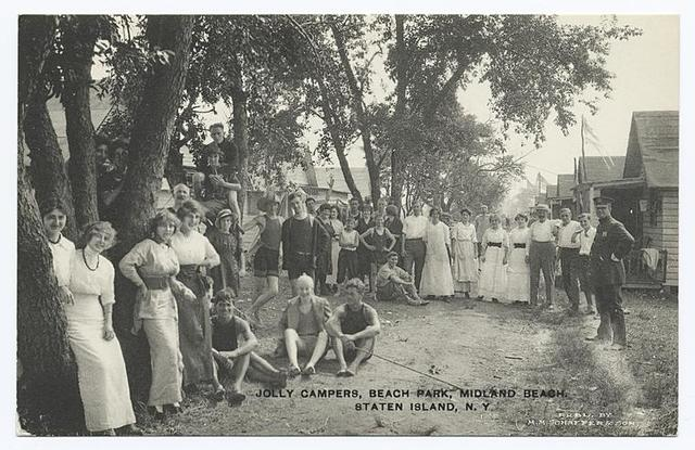 Jolly Campers, Beach Park, Midland Beach, Staten Island, N.Y.  [posed portrait of campers; ladies in beautiful white dresses, men in casual garb, cottages.]