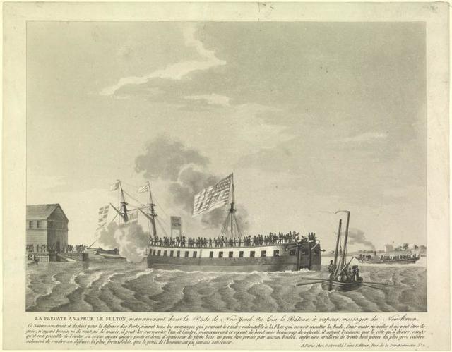 La fregate a vapeur le fulton, . . .manoeuvrant dans la Rade de New Yorck. Au loin le bâteau a vapeur, messager du New-haven. [5 lines of description]