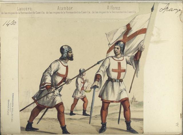 Lancero, de la tropas de la Hermandad de Castilla; Atambor, de las tropas de la Hermandad de Castilla; Alferez, de las tropas de la Hermandad de Castilla. ([Año] 1480).