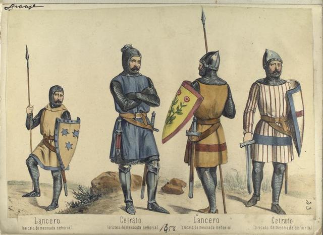 Lancero, loricato, de mesnada de señorial; Cetrato, loricato, de mesnada señorial; Lancero, loricato, de mesnada señorial; Cetrato, loricato, de mesnada señorial  ([Año] 1356).
