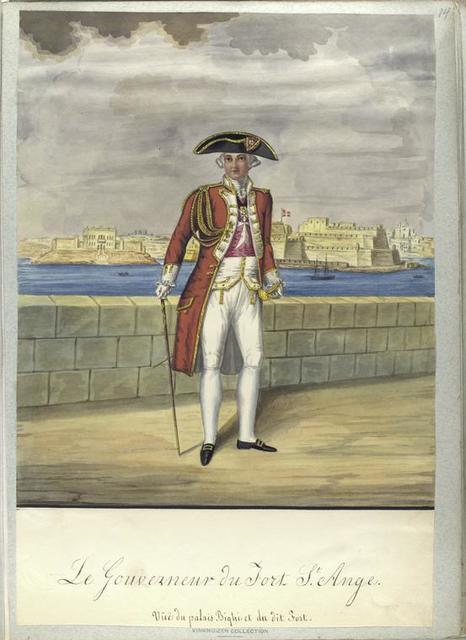 Le Gouverneur de Fort St. Ange. Vue du palais Bighi et du dit Fort.