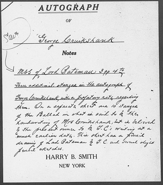 Loving ballad of Lord Bateman. Ms. copy in George Cruikshank's, or possibly in Mrs. Cruikshank's, hand n.d.
