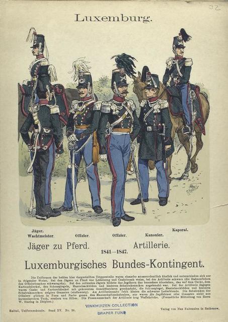 Luxemburg.  Jäger zu Pferd, Artillerie, 1841-1847. Luxemburgisches Bundes-Kontingent