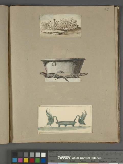 Man shooing chicken with hat; cauldron resting on rats; swans drinking from basin