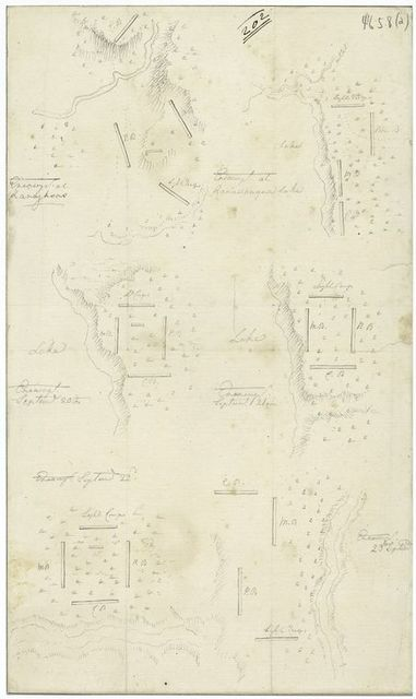 Map plans of the various encampments of Sullivan's army in the expedition against the Indians (1779).