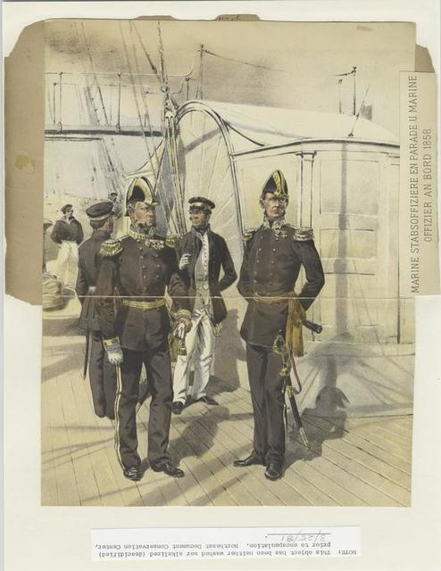 Marine Stabsoffiziere en parade u. marine Offizier an Bord 1858