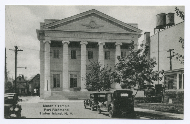 Masonic Temple, Port Richmond, Staten Island, N.Y. (building with old cars on street, and old-type water cisterns on roof  with ad for Ritz Theatre.)