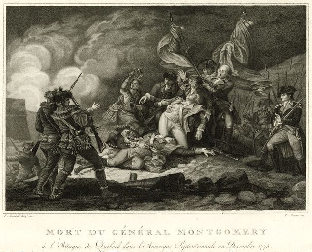Mort du Général Montgomery à l'attack de Quebeck dans l'Amerique Septentrionale en Decembre 1775.