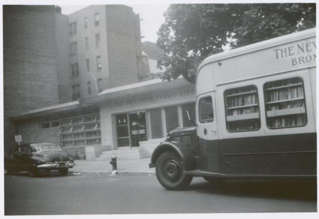 [Mosholu, Exterior, one car and Bronx Bookmobile.]
