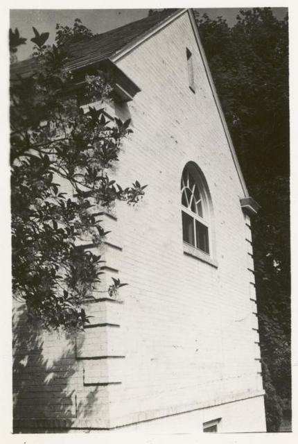 [New Dorp, Exterior, gable and arched window.]