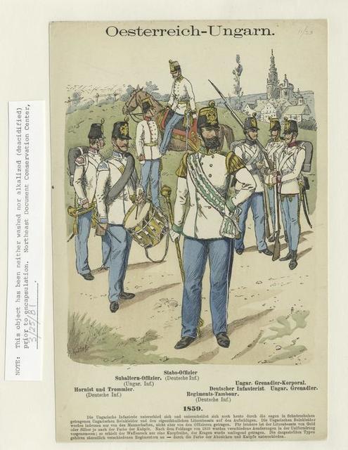 Oesterreich-Ungarn: Hornist und Trommler (Deutsche Inf.); Subaltern-Offizier (Ungar. Inf.); Stabs-Offizier (Deutsche Inf.); Regiments-Tambour (Deutsche Inf.); Deutscher Infanterist; Ungar. Grenadier-Korporal; Ungar. Grenadier, 1859