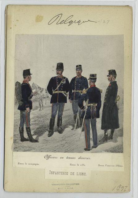 Officiers en tenue diverses : [1] Tenue de campagne; [2] Tenue de ville; [3] Tenue d'exercice d'hiver. Infanterie de ligne. 1897