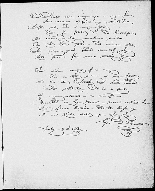 Old curiosity shop, 14-line holograph transcription by Dickens of passage on the death of Little Nell
