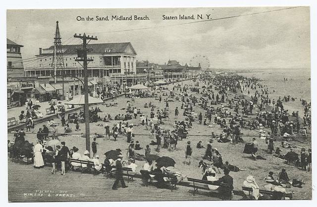 On the Sand, Midland Beach. Staten Island, N.Y.  [large pavilion, boardwalk, people, ferris wheel in far distance.]
