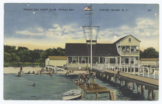 Prince(sic) Bay Yacht Club, Prince(sic) Bay Staten Island, N.Y.  [building & people swimming off float.]