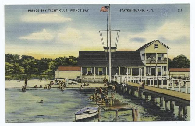 Prince(sic) Bay Yacht Club, Prince(sic) Bay Staten Island, N.Y.  [buillding  & people swimming off float.]