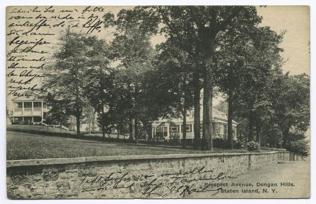 Prospect Avenue, Dongan Hills, Staten Island, N.Y.  [wide lawns and large homes behind stone wall]