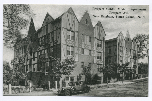 Prospect Gables Modern Apartments, Prospect Ave. New Brighton, Staten Island, N.Y.  [Tudor style buildings with old car parked in front  advertising text on back.]